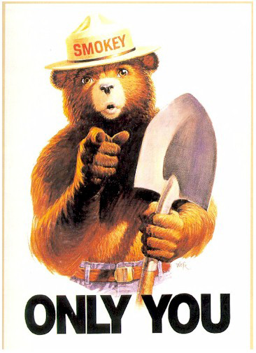 Smokey the Bear is all about protecting your apartment from fires.