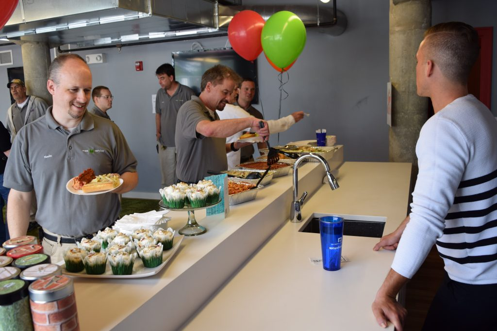 Cupini's and cupcakes and the casbah party room with maintenance crew.