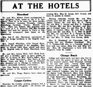 At The Hotels - June 28, 1929